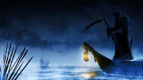 Mythos von Charon - der Tod auf einem Boot