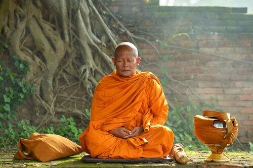 Die tibetischen Mönche - meditierender Mönch