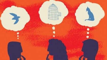 Das soziale Gehirn - Zeichnung mit Menschen und Gedankenblasen
