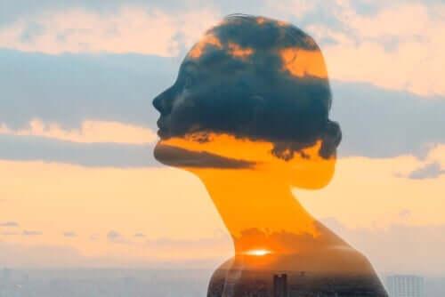 Schwierigkeiten sind getarnte Chancen - Frau, in der sich die Außenwelt spiegelt