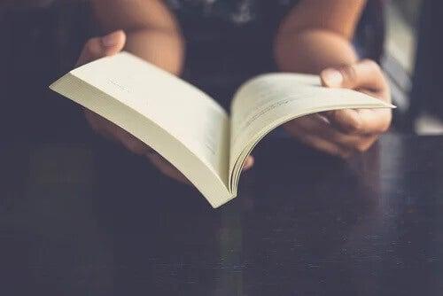 Eine Frau liest das Buch von Louisa May Alcott.