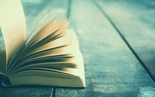 Ein offenes Buch liegt auf einem Holztisch. Louisa May Alcott