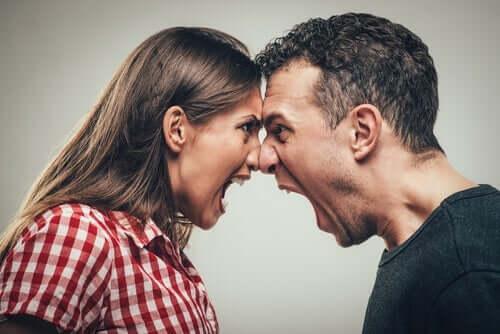 Schreien als Ausdrucksmittel- Paar schreit sich an
