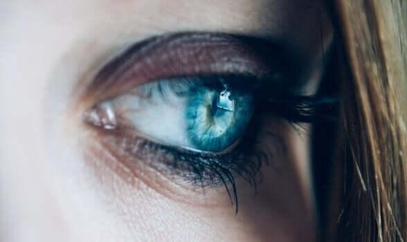 Inakzeptable Trauer - Nahaufnahme eines blauen Auges