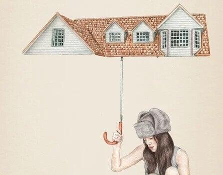 Frau, die von ihrem Regenschirm in Form eines Daches geschützt ist.