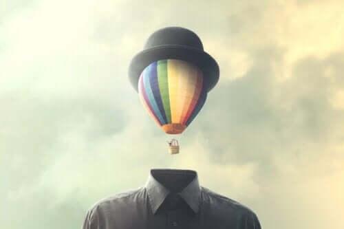 Ein Heißluftballonkopf