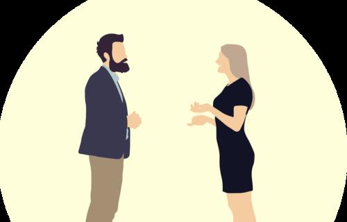 Zwei Menschen, die sich unterhalten