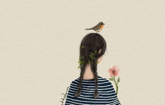 an die erste Stelle - Vogel auf dem Kopf