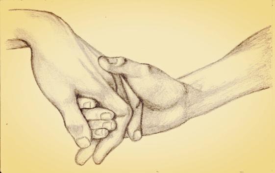 freundlich sein - Zeichnung liebevoller Hände