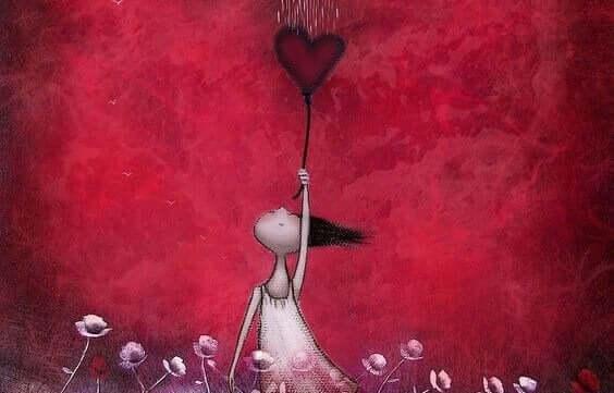 detailorientiert - Herz an einem Luftballon